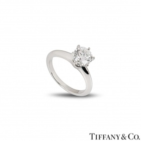 Tiffany & Co. Platinum Diamond Setting Ring 1.31ct H/VS1